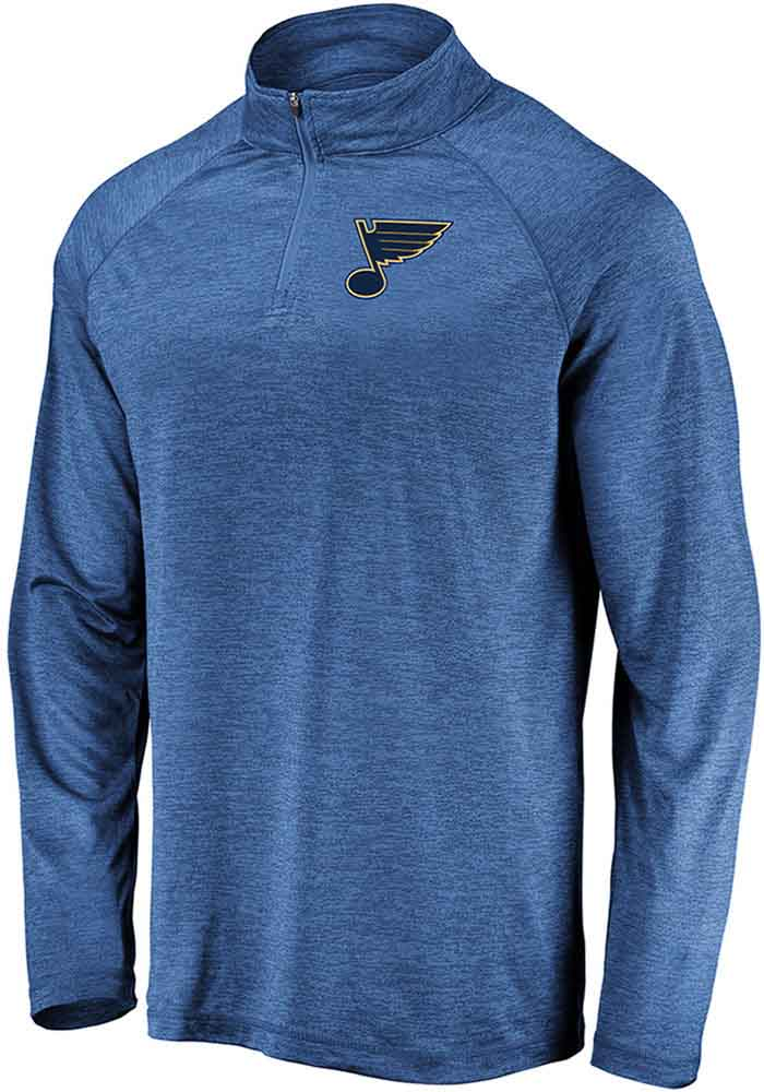 St Louis Blues Mens Blue Striated Raglan Long Sleeve 1/4 Zip Pullover - Image 1