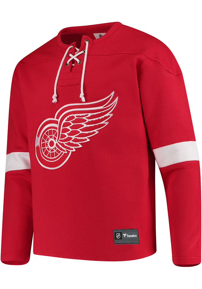 Detroit Red Wings Mens Red Lace Up Crew Long Sleeve Fashion Sweatshirt - Image 1