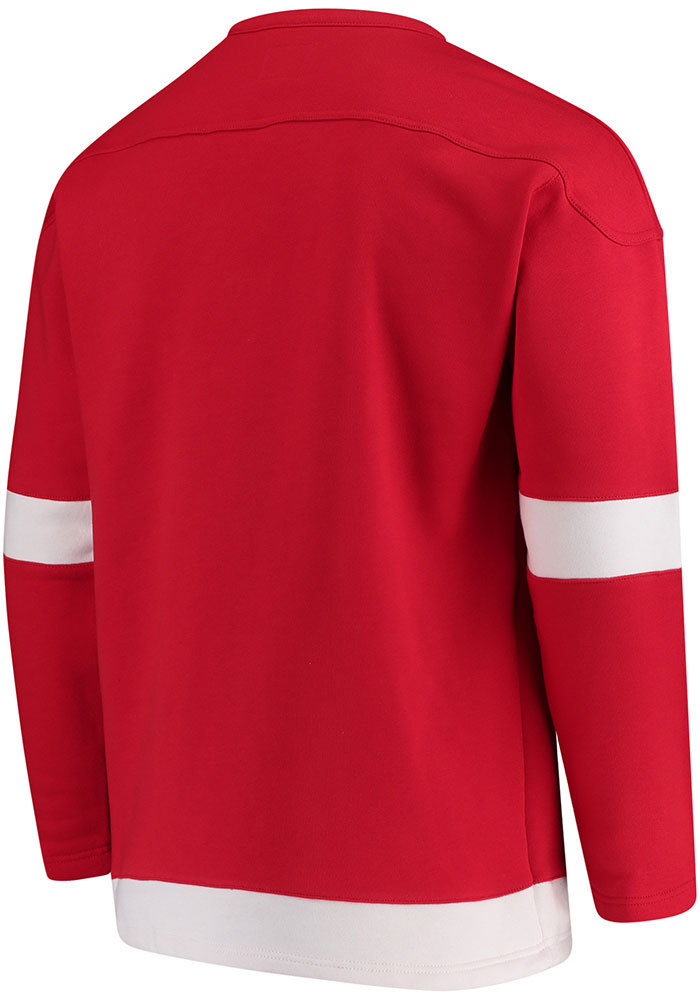 Detroit Red Wings Mens Red Lace Up Crew Long Sleeve Fashion Sweatshirt - Image 2