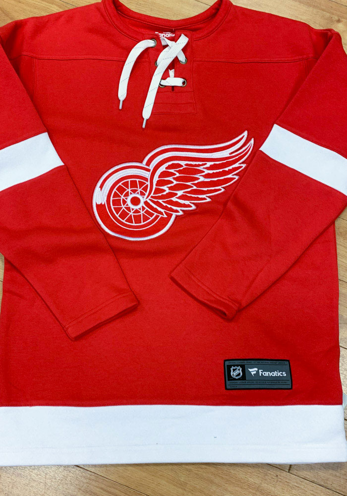 Detroit Red Wings Mens Red Lace Up Crew Long Sleeve Fashion Sweatshirt - Image 3
