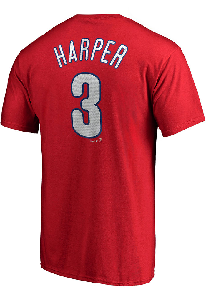 Bryce Harper Philadelphia Phillies Red Name & Number Short Sleeve Player T Shirt - Image 1