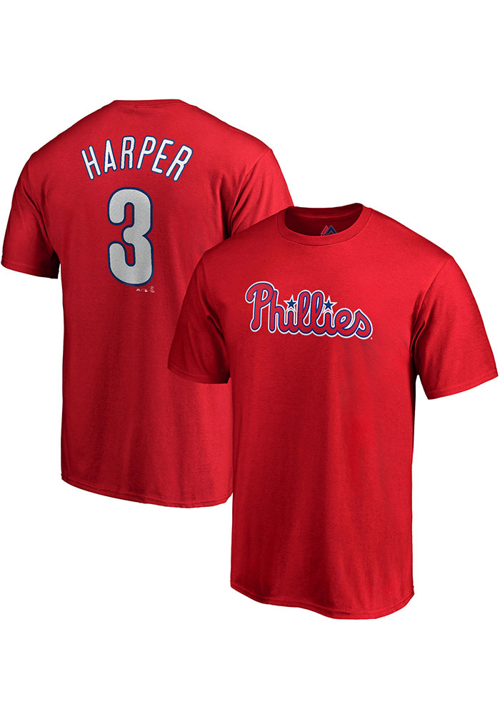 Bryce Harper Philadelphia Phillies Red Name & Number Short Sleeve Player T Shirt - Image 3
