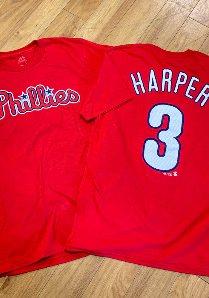 Bryce Harper Philadelphia Phillies Red Name & Number Short Sleeve Player T Shirt - Image 4