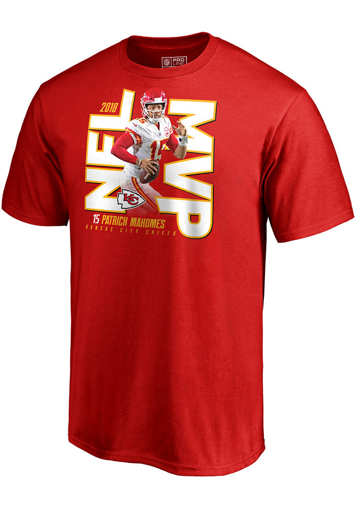 Patrick Mahomes Kansas City Chiefs Red 2018 MVP Short Sleeve Player T Shirt - Image 1