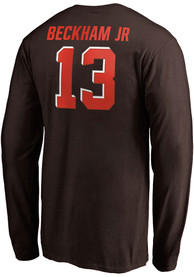 Odell Beckham Jr Cleveland Browns Name And Number Long Sleeve T-Shirt - Brown