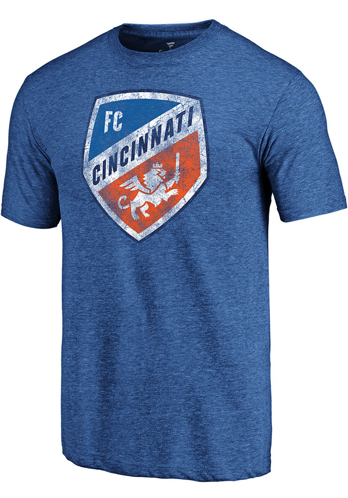 FC Cincinnati Blue Throwback Logo Short Sleeve Fashion T Shirt - Image 1
