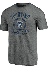 Sporting Kansas City Retro Soccer Arc Fashion T Shirt - Grey