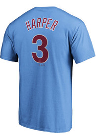 Bryce Harper Philadelphia Phillies Majestic Name and Number T-Shirt - Light Blue