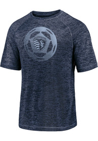 Sporting Kansas City Iconic Striated Runner T Shirt - Navy Blue