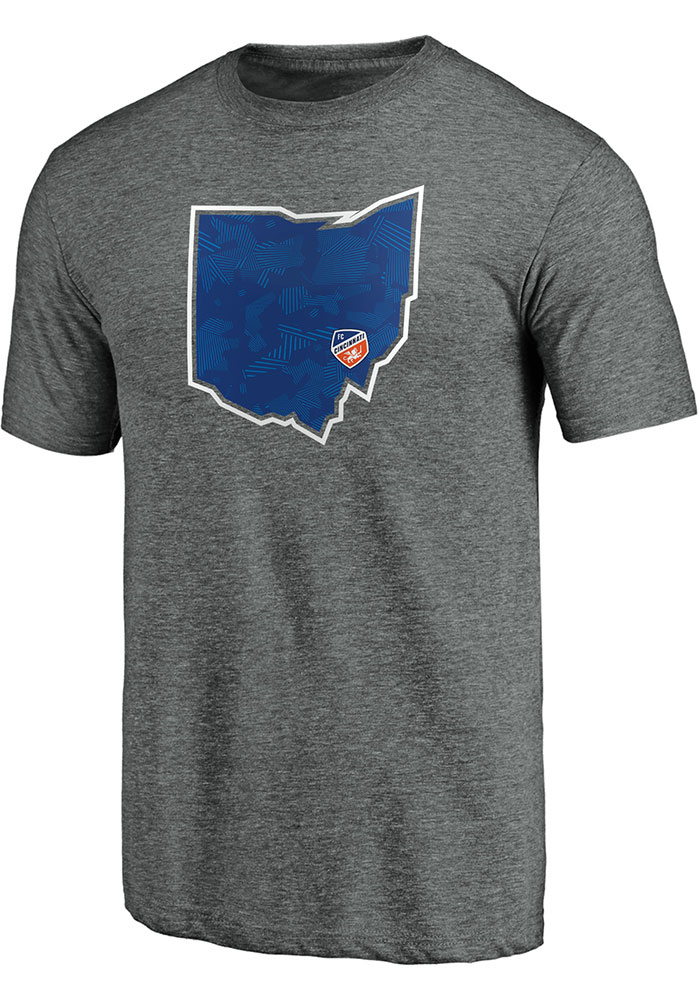 FC Cincinnati Iconic Team State Pride T Shirt - Grey