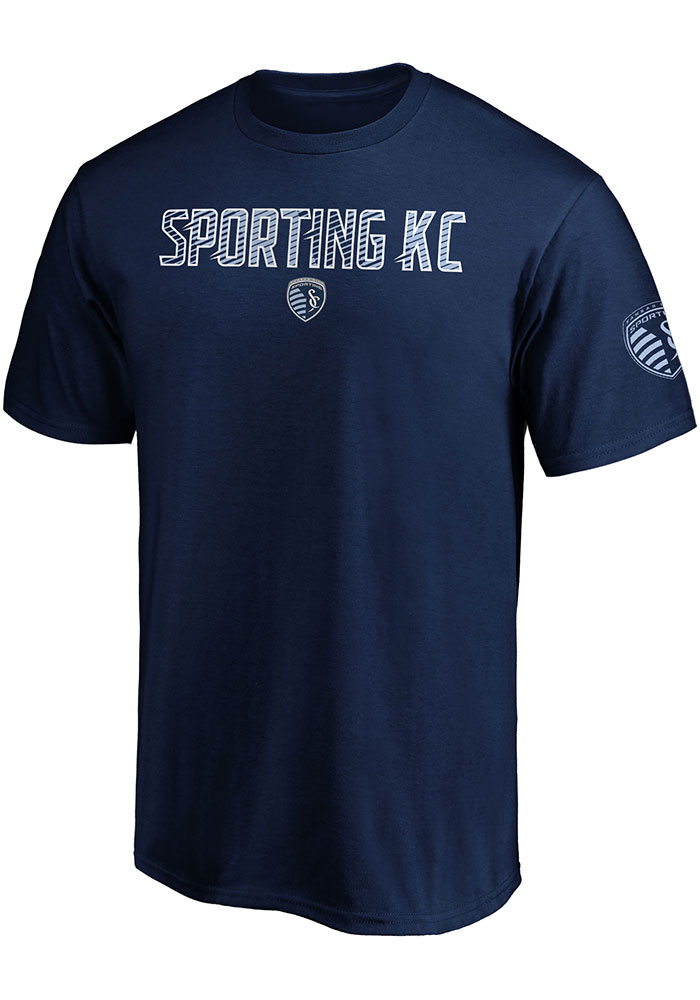 Sporting Kansas City Iconic Cotton Ombre T Shirt - Navy Blue