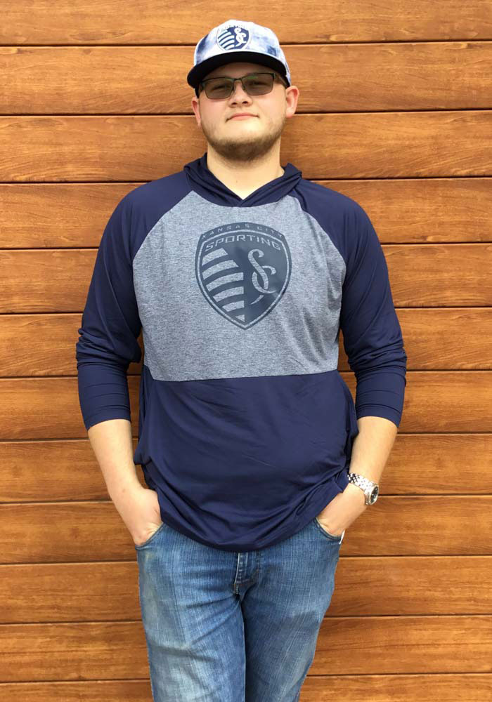 Sporting Kansas City Mens Navy Blue Iconic Marble Clutch Hood - Image 3