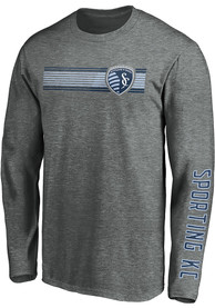 Sporting Kansas City Stripe Fade T Shirt - Grey