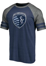Sporting Kansas City Sleeve Stripe Fashion T Shirt - Navy Blue