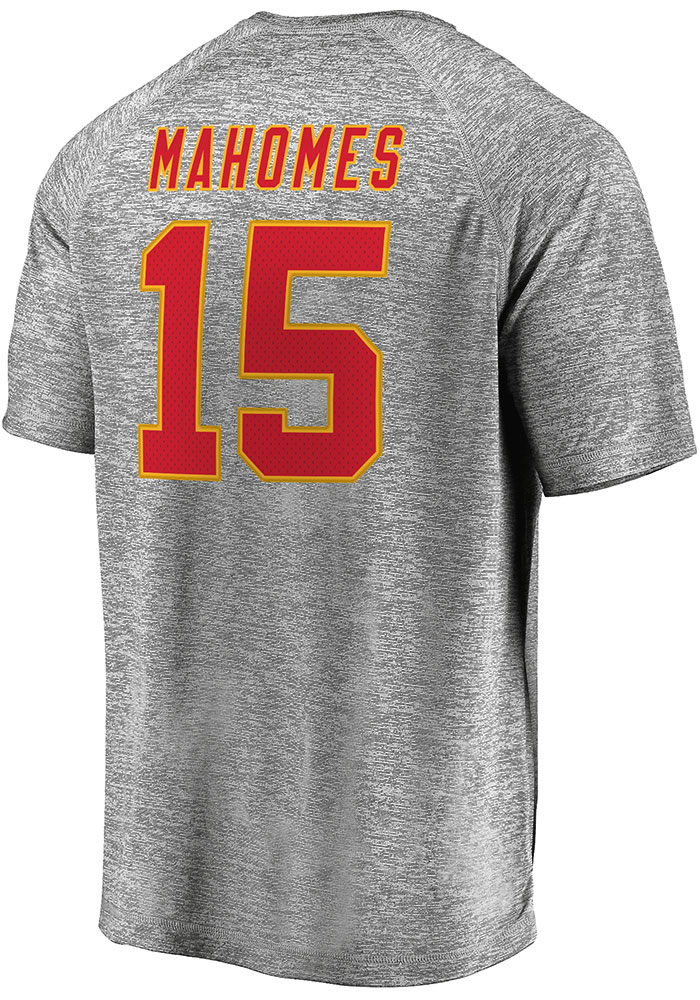 Patrick Mahomes Kansas City Chiefs Grey Authentic Stack Short Sleeve Player T Shirt - Image 1