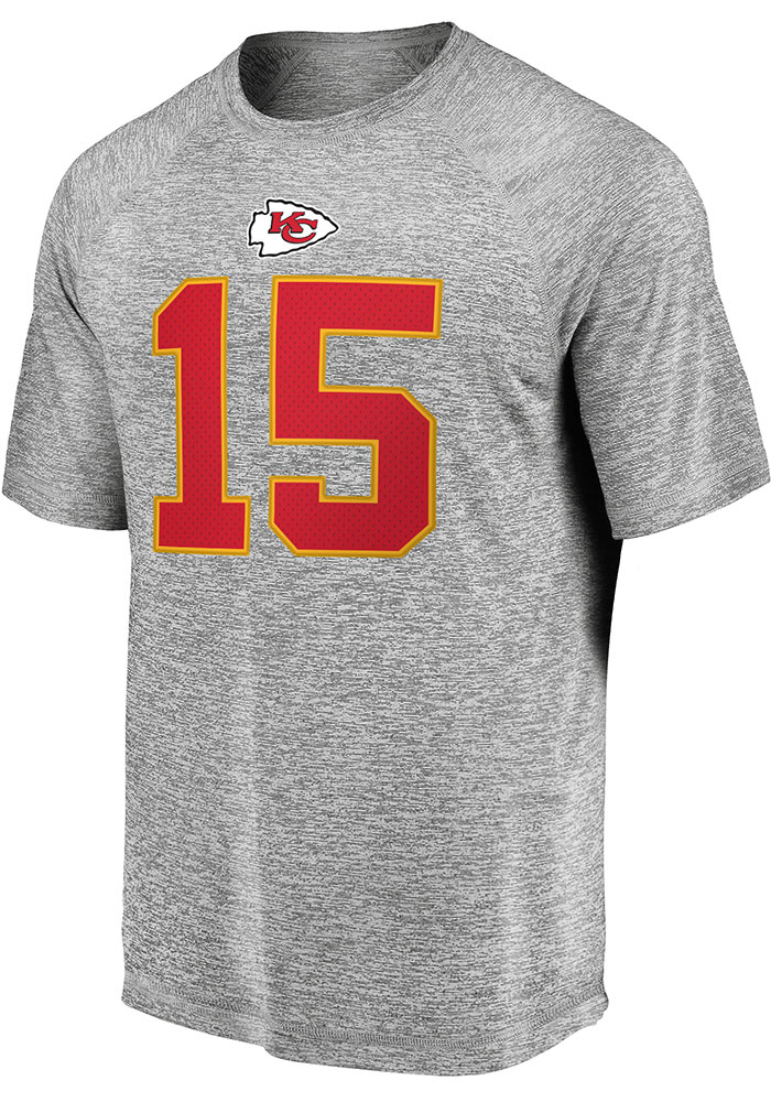 Patrick Mahomes Kansas City Chiefs Grey Authentic Stack Short Sleeve Player T Shirt - Image 2