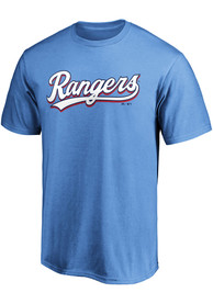 Texas Rangers Majestic Wordmark T Shirt - Light Blue