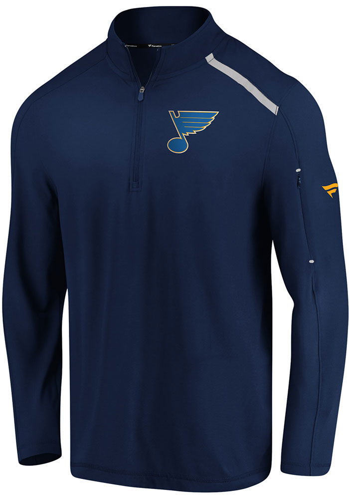 St Louis Blues Mens Navy Blue Authentic Pro Clutch Long Sleeve 1/4 Zip Pullover - Image 1