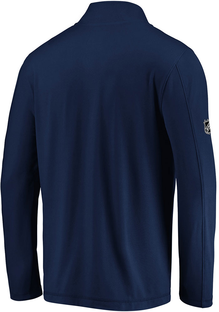 St Louis Blues Mens Navy Blue Authentic Pro Clutch Long Sleeve 1/4 Zip Pullover - Image 2