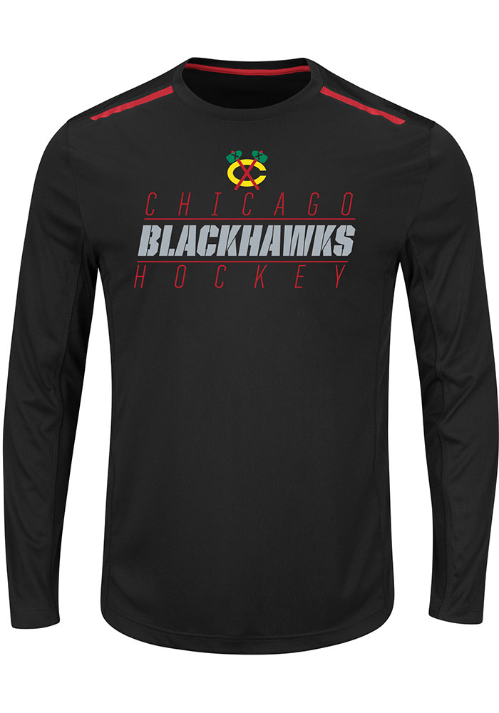 Majestic Chicago Blackhawks Black Quick Whistle Long Sleeve T-Shirt - Image 1