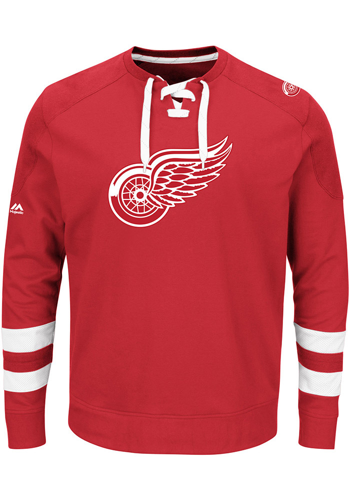 Majestic Detroit Red Wings Mens Red Center Fashion Long Sleeve Fashion Sweatshirt - Image 1
