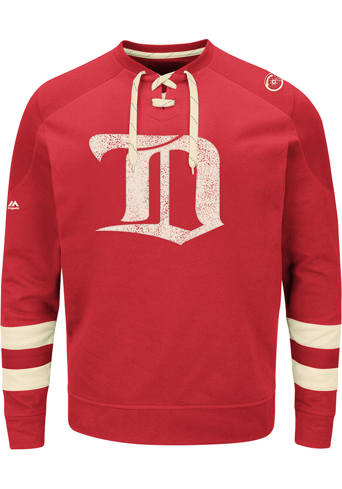 Majestic Detroit Red Wings Mens Red Vintage Centre Long Sleeve Fashion Sweatshirt - Image 1