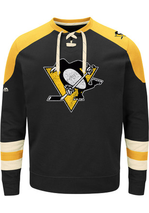 Majestic Pittsburgh Penguins Mens Black Vintage Fashion Sweatshirt