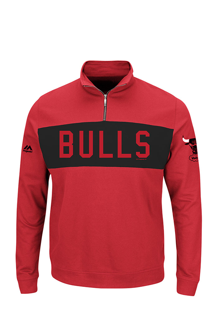 Majestic Chicago Bulls Mens Red Limelight Long Sleeve 1/4 Zip Pullover - Image 1