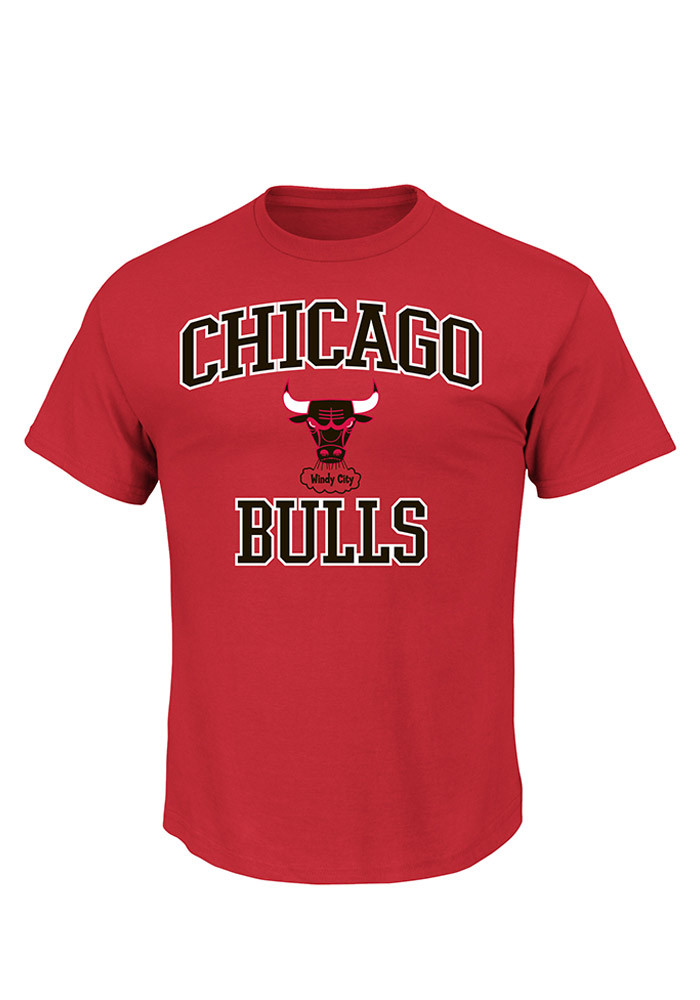 Majestic Chicago Bulls Mens Red Heart and Soul Short Sleeve T Shirt - Image 1