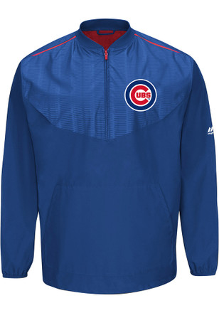 Majestic Chicago Cubs Mens Blue Cool Base Gamer 1/4 Zip Performance Pullover