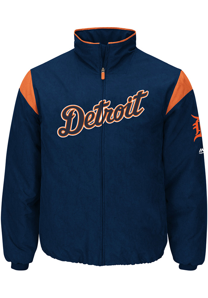 Majestic Detroit Tigers Mens Navy Blue On-Field Thermal Heavyweight Jacket - Image 1