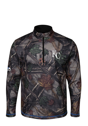 Majestic Kansas City Royals Mens Green Sweat and Determination 1/4 Zip Pullover