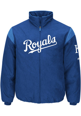 Majestic Kansas City Royals Mens Blue On-Field Thermal Heavyweight Jacket