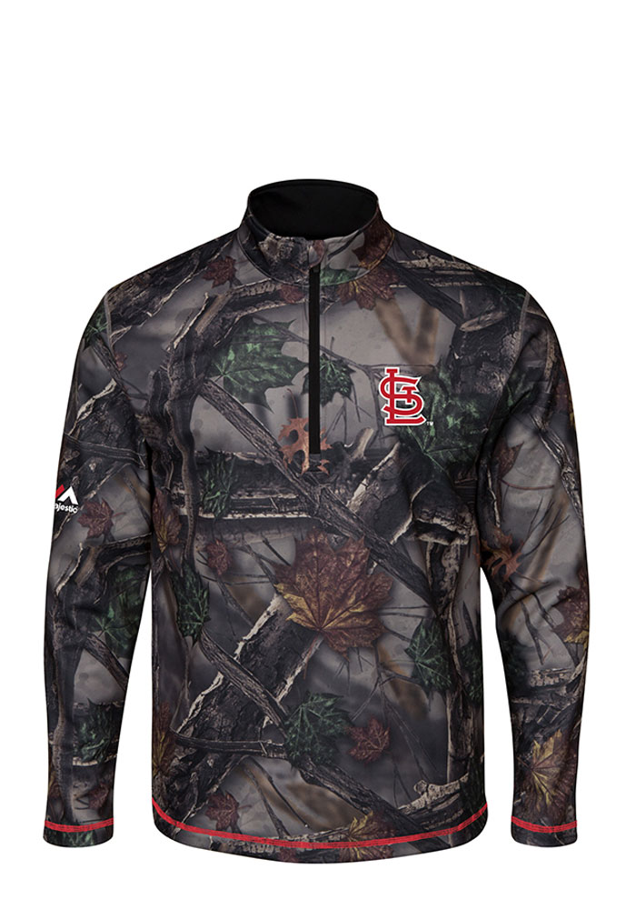 Majestic St Louis Cardinals Mens Green Sweat and Determination Long Sleeve 1/4 Zip Pullover - Image 1