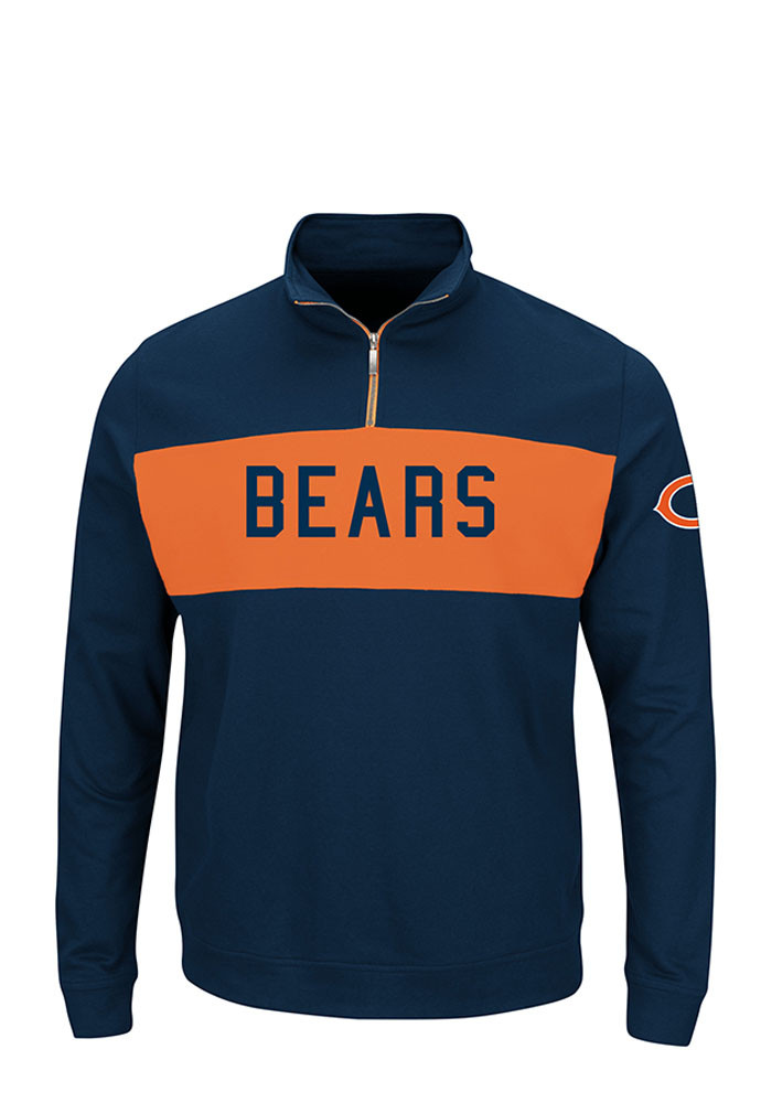 Majestic Chicago Bears Mens Navy Blue Goal Line Long Sleeve 1/4 Zip Pullover - Image 1