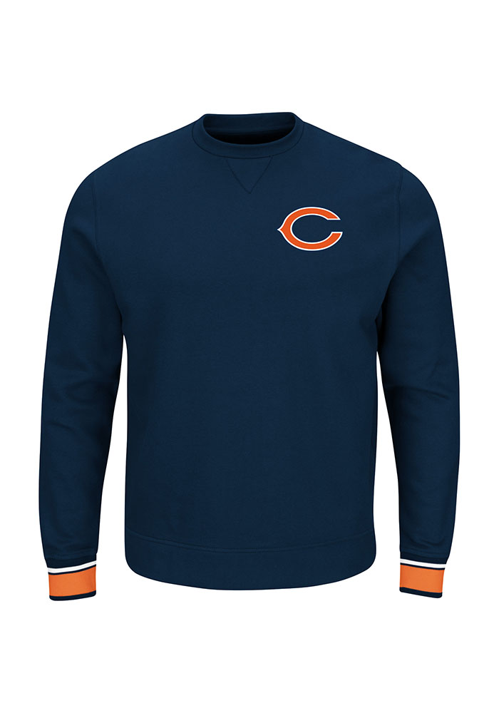 Majestic Chicago Bears Mens Navy Blue Classic Long Sleeve Crew Sweatshirt - Image 1