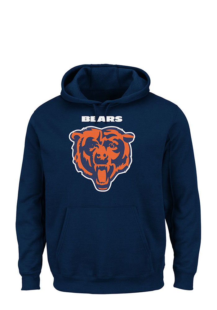 Majestic Chicago Bears Mens Navy Blue Critical Victory Long Sleeve Hoodie - Image 1