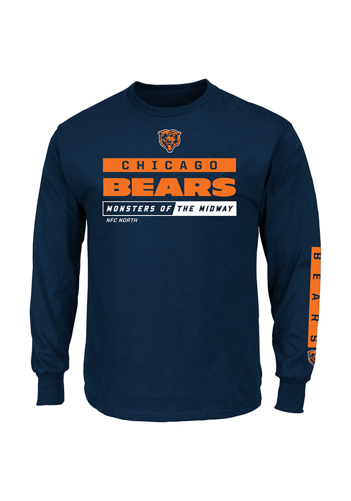 Majestic Chicago Bears Navy Blue Critical Victory Long Sleeve T Shirt - Image 1