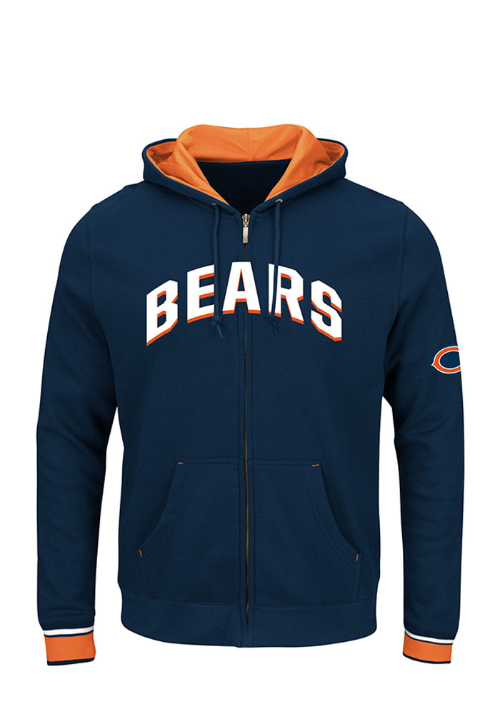 Majestic Chicago Bears Mens Navy Blue Anchor Point Long Sleeve Full Zip Jacket - Image 1