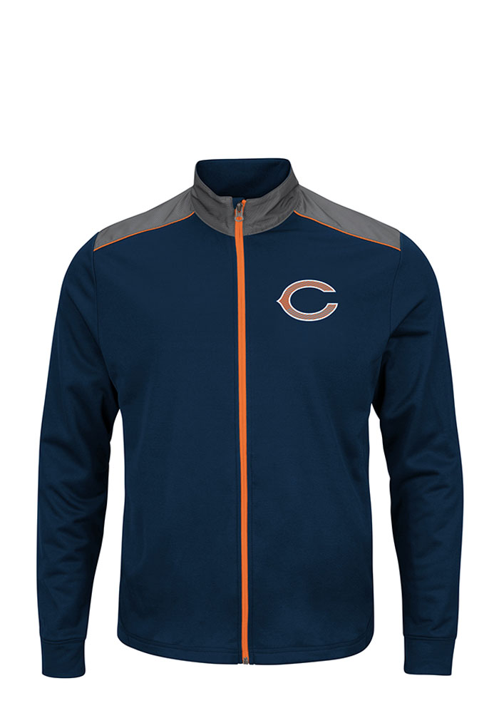 Majestic Chicago Bears Mens Navy Blue tee Light Weight Jacket - Image 1
