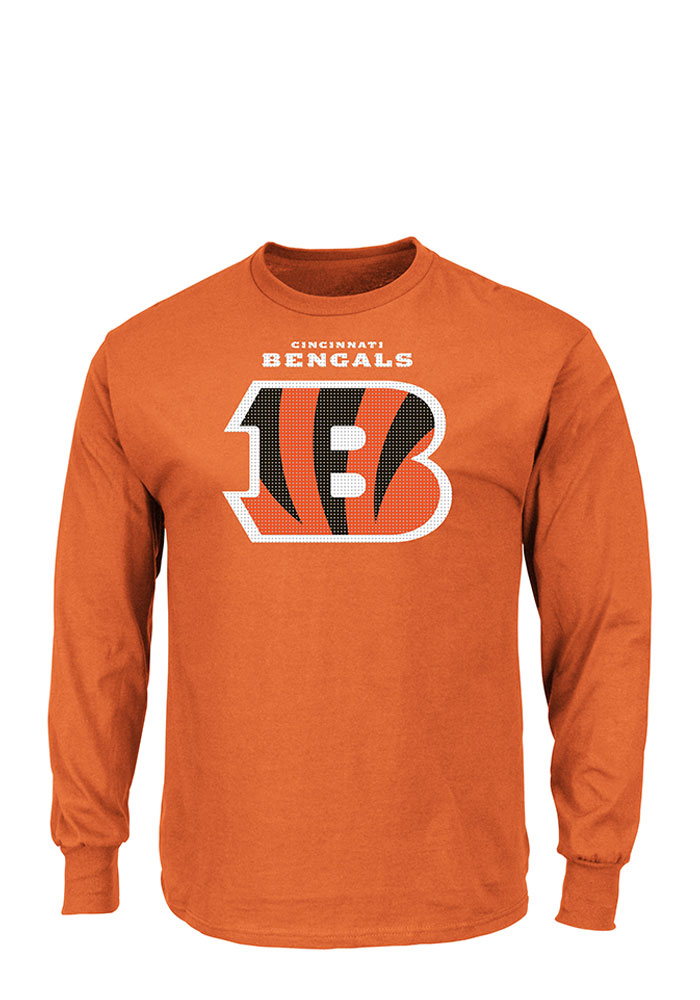 Majestic Cincinnati Bengals Mens Orange Critical Victory II Long Sleeve T Shirt - Image 1