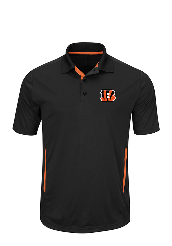 Majestic Cincinnati Bengals Mens Black Field Classic Short Sleeve Polo - Image 1