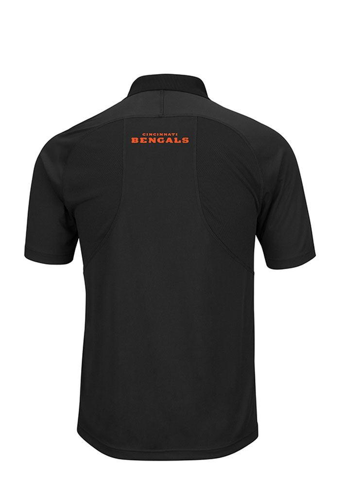 Majestic Cincinnati Bengals Mens Black Field Classic Short Sleeve Polo - Image 2