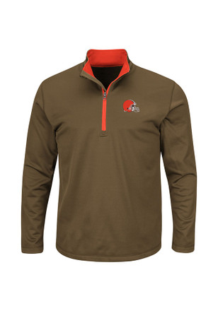 Majestic Cleveland Browns Mens Brown Across the Scoreboard 1/4 Zip Pullover