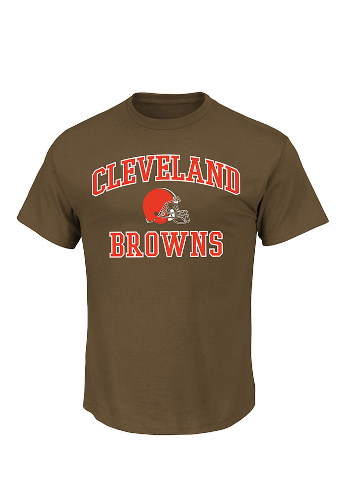Majestic Cleveland Browns Mens Green Heart and Soul Short Sleeve T Shirt - Image 1