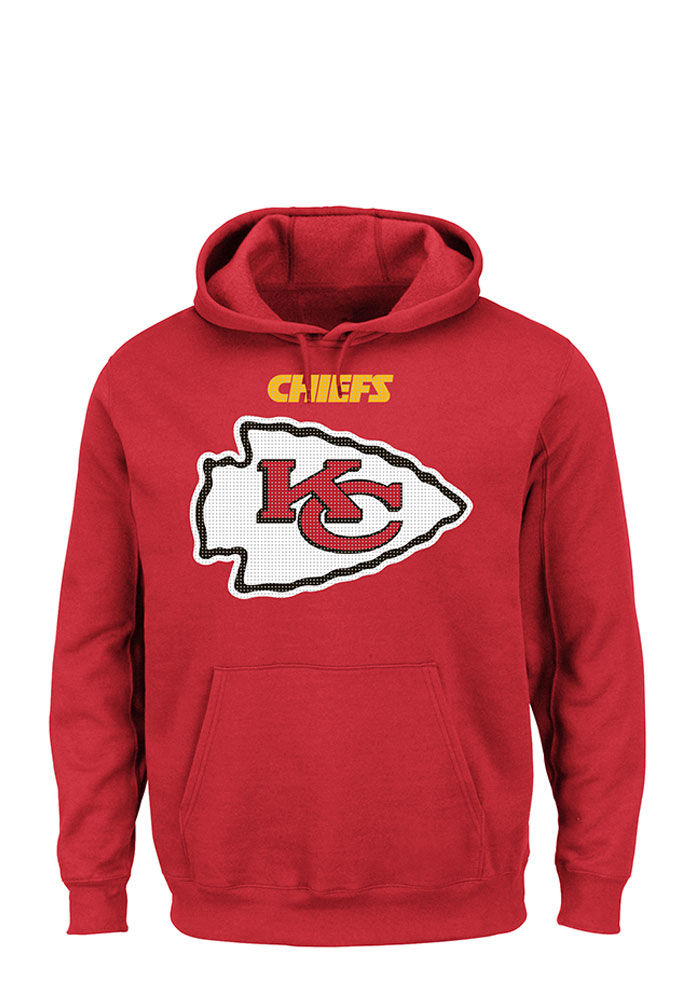 Majestic Kansas City Chiefs Mens Red Critical Victory Long Sleeve Hoodie, Red, 80% COTTON / 20% POLYESTER, Size M