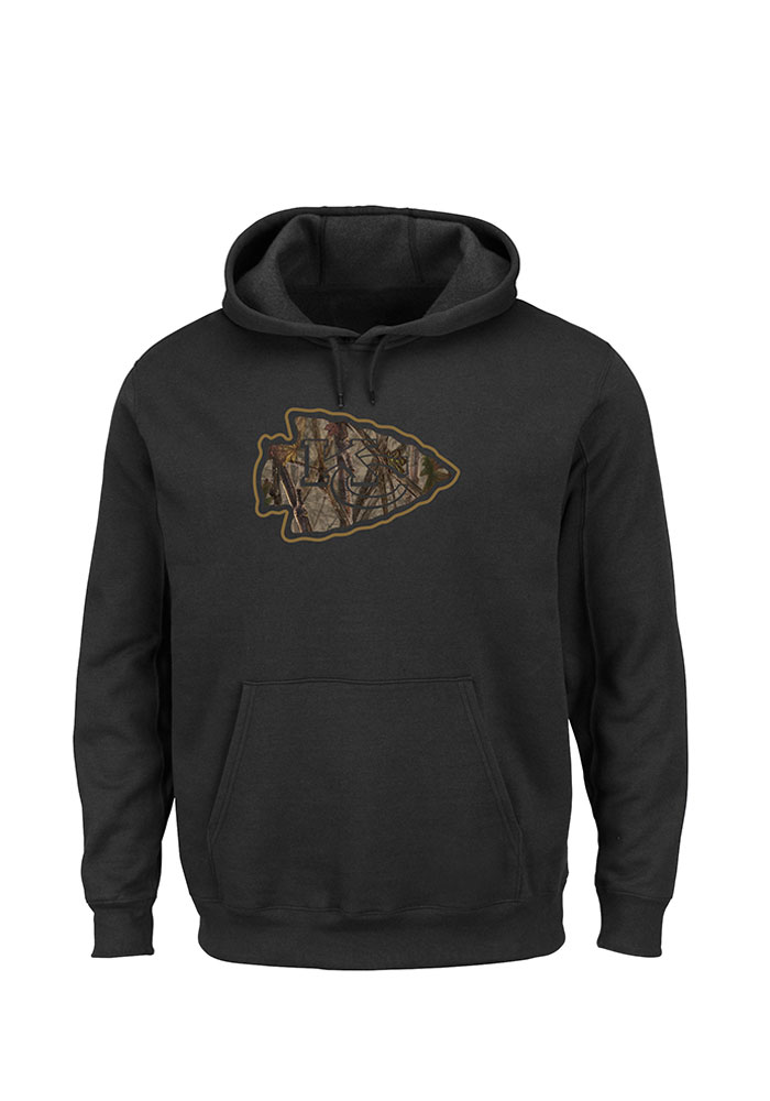 Majestic Kansas City Chiefs Mens Black Tek Patch Long Sleeve Hoodie, Black, 80% COTTON / 20% POLYESTER, Size XL