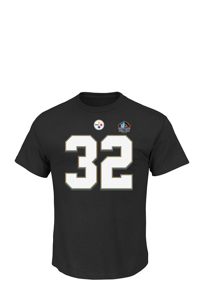 Franco Harris Pittsburgh Steelers Mens Black Eligible Receiver Short Sleeve Player T Shirt - Image 2