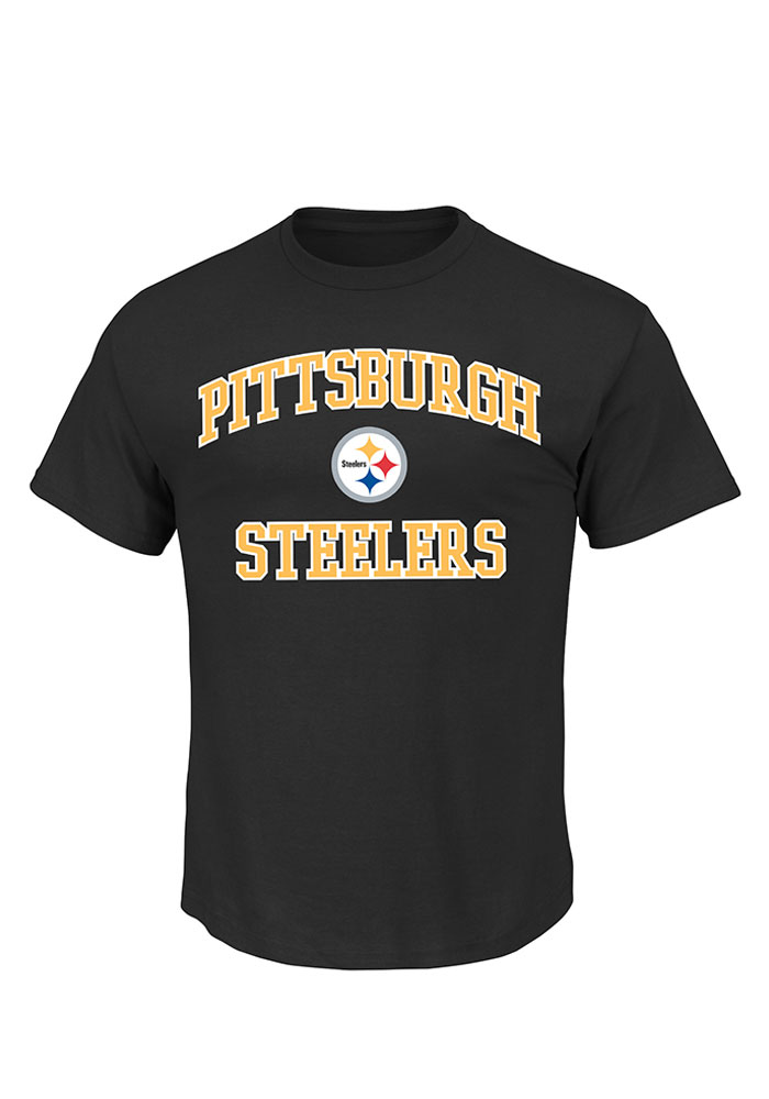 Majestic Pittsburgh Steelers Black Heart and Soul III Short Sleeve T Shirt - Image 1