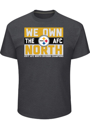 Pittsburgh Steelers Mens Grey 2017 Division Champions Line of Scrimmage Tee